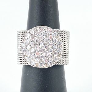 Pave CZ and Silver Cocktail Ring Marked 925